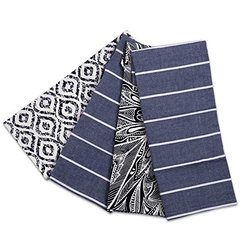 ACCENTHOME Kitchen Towels Set of 4 Super Absorbent Durable Towels Perfect for Kitchen Mess & Drying Dishes 20x28 inches Trellise Design