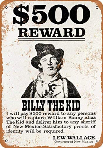 Phirtyrius 1878 Billy The Kid Wanted Póster de metal de aspecto vintage – 25,4 x 35,5 cm