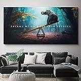 WTYBGDAN Animale Motivazionale Citazione Tela Pittura Poster Stampa Lettera I Sogni pesano più Che Scuse Immagine di Arte della Parete Arredamento Soggiorno   70x140 cm/Senza Cornice