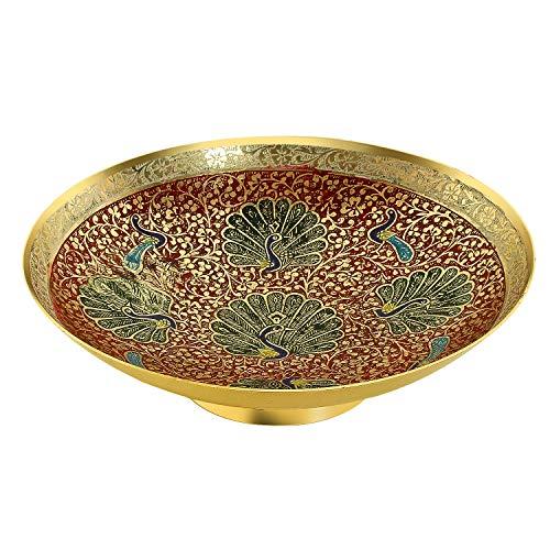 Zap Impex ® latón Decorativa Seca Frutero Bidri Trabajo–Tamaño de 8,5Schöne Rojos Color Pavo Real Diseño Cocina Regalo