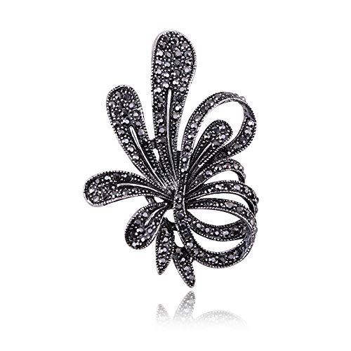 SHAOWU Nueva Exquisita Pistola de Moda, Broche de Flores de Diamantes de imitación Negros, broches de Cristal Vintage para Mujeres, joyería Fina, broches de Hojas y Plantas