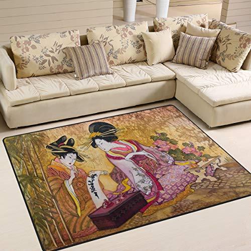 Use7 Vintage Geisha Bamboo Japanese Area Rug Rugs for Living Room Bedroom 160cm x 122cm(5.3 x 4 feet)