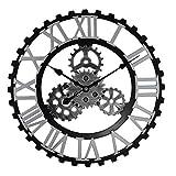 Reloj De Pared Slient Sin Tictac Cara Abierta Redondo JardíN Interior Reloj Grande Sala De Estar Moderna ColeccióN para El Hogar DecoracióN Impresionante Plata_28 Pulgadas