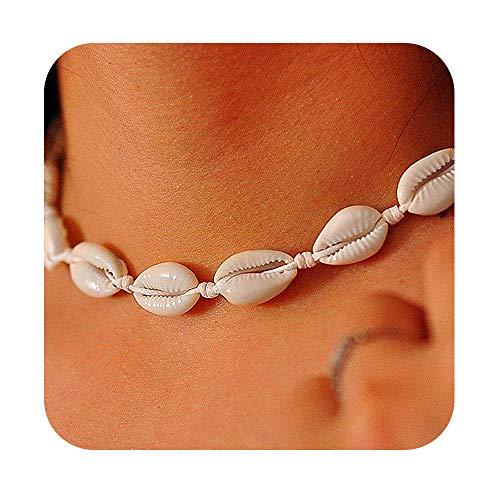 Gleamart Conchas Collar Blanco Natural de la Playa de Shell Gargantilla Ajustables para Las Mujeres Blancas