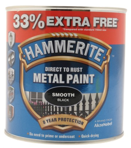 Hammerite 5158235 Metal Paint, Smooth Black, 1L