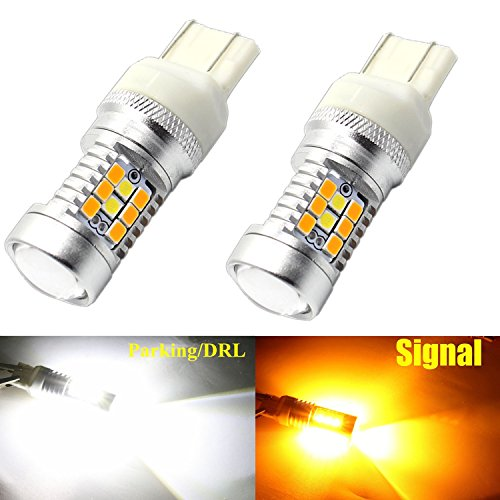 Alla Lighting 7443 7444NA T20 LED Switchback Xtremely Super Bright Dual Color White Yellow (Amber) High Power 2835 28-SMD LED Bulbs for Replacing Turn signal Light Lamps (7443)