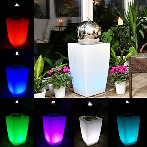 Köhko Wasserlichtspiel 30cm Springbrunnen 51006M mit Becken in Milchweiß inkl. Farbwechsel mittels 24 Tasten IR-Fernbedienung