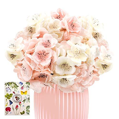 SnailGarden Flor de Hortensia Artificial,2 Racimos 24 Flores Falsas Individuales Realistas,Ramo de Flores de Seda para Boda Nupcial,Fiesta en Casa,Festival,Arreglos Florales,Decoración