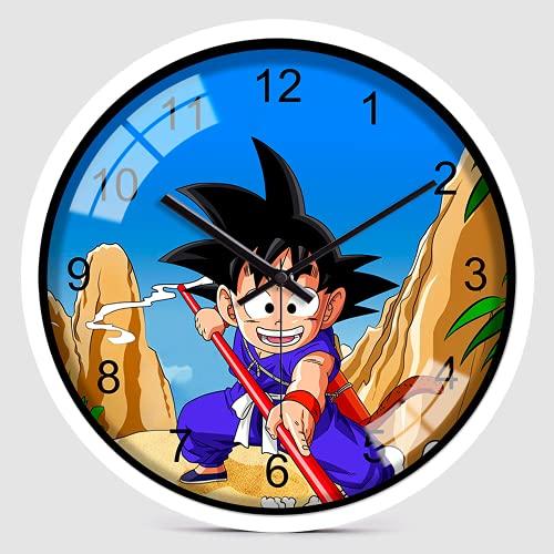 ANFDGD Dragon Ball - Reloj de pared decorativo para niños, idea de regalo, hecho a mano, diseño de anime, reloj de pared para habitación de los niños, reloj de pared redondo (14 pulgadas)