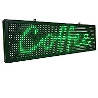 LEDボード 軽量 小型LED看板 電飾 LED電光掲示板 店頭看板 屋內用 LEDデジタルボード LED看板広告 宣伝 LEDサイン 販促68x20cm 取付け簡単 選べる5色 (緑)