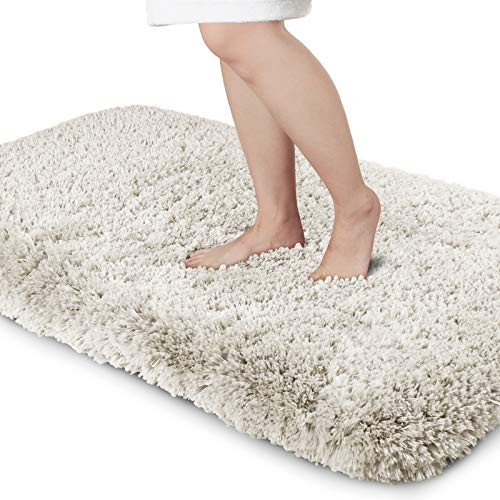 Yimobra Premium Plush Bathroom Rug Non Slip Fluffy Bath Mat,Incredibly Soft Comfortable, Extra Thick, Water Absorbent, Shaggy Floor Mats (31.5 x 19.8 Inches, Beige)