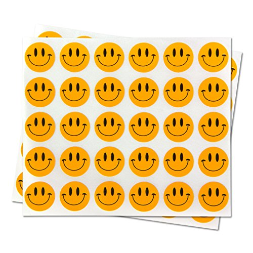 Happy Face Smiley Face Labels Round Self Adhesive Circle Stickers ( Orange / 0.5 inch / 300 Labels per Pack )