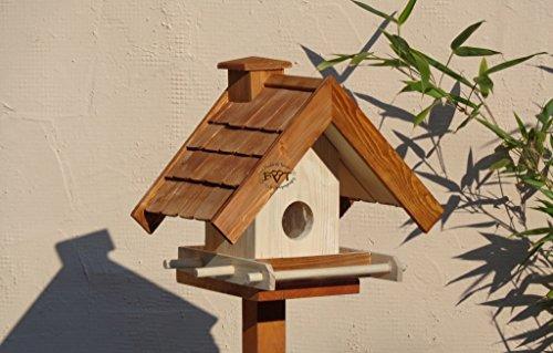 PREMIUM vogelhaus mit ständer+futterautomat,K-BEL-VOWA3-MS-dbraun002 Großes PREMIUM-Qualität,Vogelhaus,mit Ständer + 5 SITZSTANGEN + SICHTSCHEIBE RUND / GLAS + FUTTERVORRAT-Riesensilo / Futterschacht Futterautomat MASSIV + WETTERFEST, QUALITÄTS-Standfuß-aus 100% Vollholz, Holz Futterhaus für Vögel, MIT FUTTERSCHACHT Futtervorrat, Vogelfutter-Station Farbe braun dunkelbraun schokobraun rustikal klassisch, Ausführung Naturholz MIT TIEFEM WETTERSCHUTZ-DACH,mit Futterschacht - 3