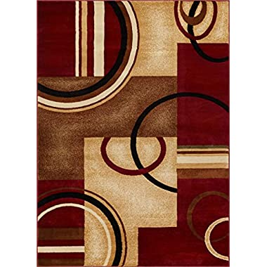 Well Woven Deco Rings Red Geometric Modern Casual Area Rug 5x7 (5'3  x 7'3 ) Easy to Clean Stain Fade Resistant Shed Free Abstract Contemporary Color Block Boxes Lines Soft Living Dining Room Rug