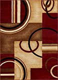Well Woven Barclay Arcs & Shapes Red Modern Geometric Area Rug 7'10' X 9'10'