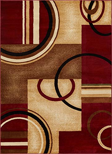 "Well Woven Barclay Arcs & Shapes Red Modern Geometric Area Rug 7'10"" X 9'10"""