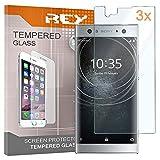 REY 3X Protector de Pantalla para Sony Xperia XA2 / Xperia XA 2, Cristal Vidrio Templado Premium
