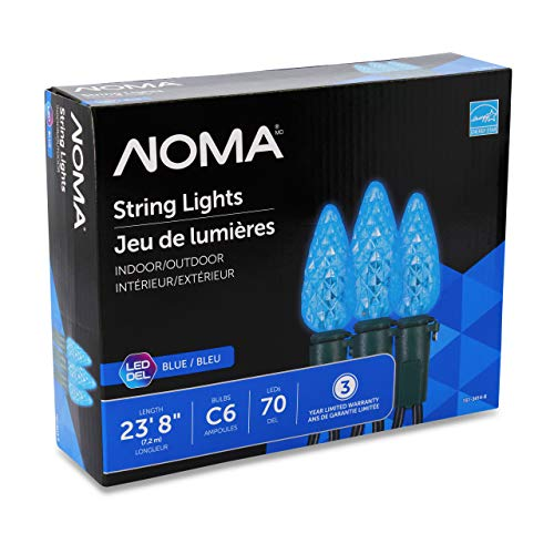 NOMA LED Christmas Lights | 70-Count C6 Blue Bulbs | 23' 8' String Light | UL Certified | Outdoor & Indoor