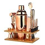 25 Unzen Cocktail Shaker Bar Set mit Zubehör, Mixology Bartender Kit, 16 stücke Bartender Kit für Mixerwein Martini, Edelstahl Bars Tool, Home Drink Partyzubehör (Color : Rose Gold)