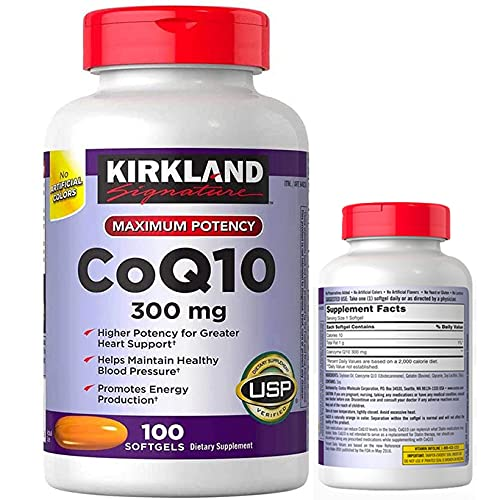 Kirkland Signature Coq10 300mg 100 Softgels-Supplementing with CoQ10 Supports Heart and Antioxidant Health and May Help Support Healthy Aging (Pack of 1)