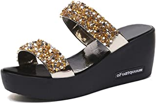 Summer Womens Shoes Casual Slippers Wedge Beach Indoor&Outdoor Shoes (Color : Golden, Size : 38)