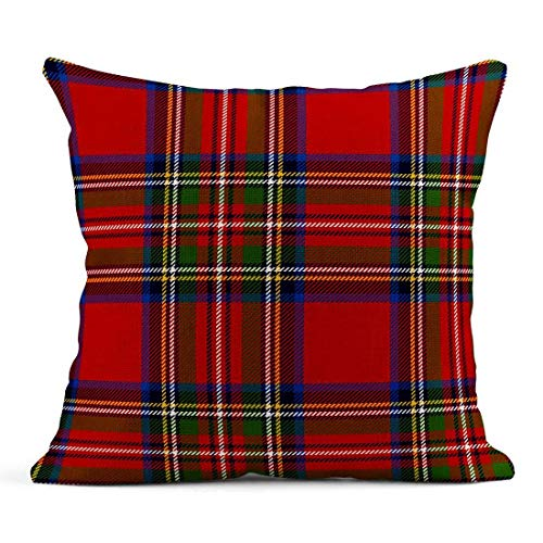Kinhevao Cojín Cuadros Escoceses a Cuadros Rojos en Colores clásicos Patrón de tartán Royal Stewart Máscara de Recorte Cojín Azul de Lino Cojín Decorativo para el hogar