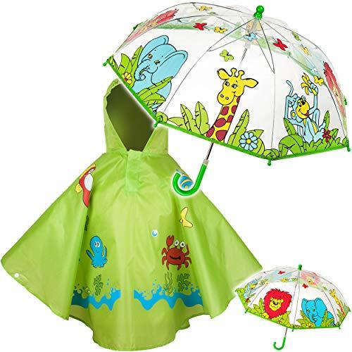 alles-meine.de GmbH 2 TLG. Set: Regenschirm + Regenponcho - Zootiere / Dschungel Tiere & Fische - Kinderschirm - Ø 70 cm - durchsichtig & durchscheinend - transparent - Regencape..
