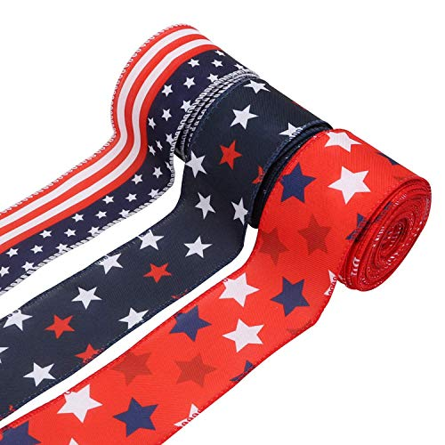 """Kingovalley 3 Rolls Patriotic Burlap Ribbons, 2.5"""" Blue Red Star Wired Edge Ribbons, Stars and Stripes Wired Ribbon for Independence Day, 4th of July Day Decorations, DIY Crafts, Wreath, Garland"""