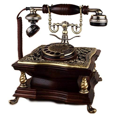 Schön Telefon mit Telefon, Herzogin nostalgisch Vintage Pushton Telefon mit Tuch Kordel Antike Holz 60er Jahre Mode Kornose Dial Telefon Set Retro Home Zubehör Dekor Bronze Metal Finish (Farbe: b)