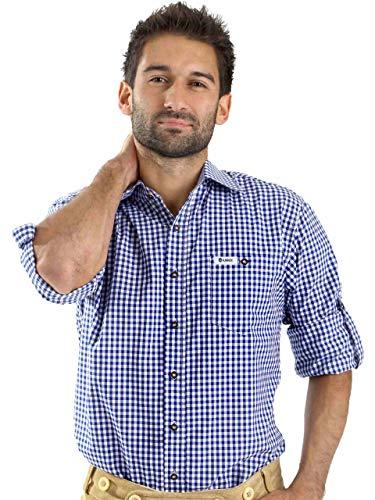 Almbock ALMBOCK Trachtenhemd Herren kariert - Slim-fit Männer Hemd dunkel-blau kariert - Karo Hemd aus 100% Baumwolle in den Größen S-XXXL
