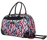 Kathy Van Zeeland Designer Duffel Bag - Small 22 Inch Rolling Carry On - Lightweight Weekender Overnight Business Travel Luggage - Rolling 2-Spinner Wheels Suitcase for Women (Feather)