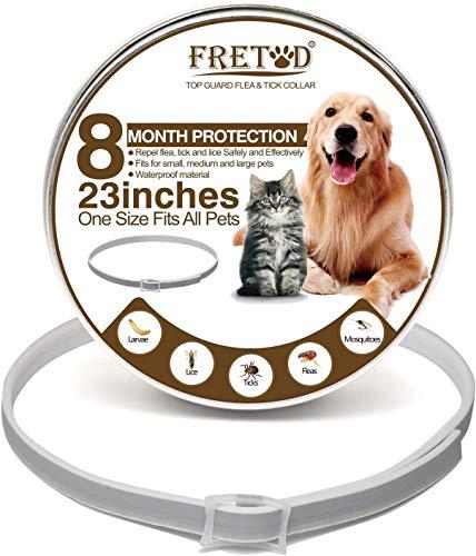 FRETOD Collare Antipulci per Cani e Gatti – 65cm Ajustable Collare Antiparassitario Antizecche