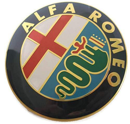 2 Fregi Stemma Alfa Romeo Oro Logo 74mm Cofano Anteriore Posteriore Emblema Gold 147 156 159 Brera Mito METALLO