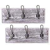 Comfify Rustico Montado en la Pared Rack con 3 Ganchos Robustos - Juego de 2 –Entrada Vintage Percheros de Madera - Rustico Rack para Abrigos, Bolsos, Toallas y más - 44.45 x 15.59cm - Blanco