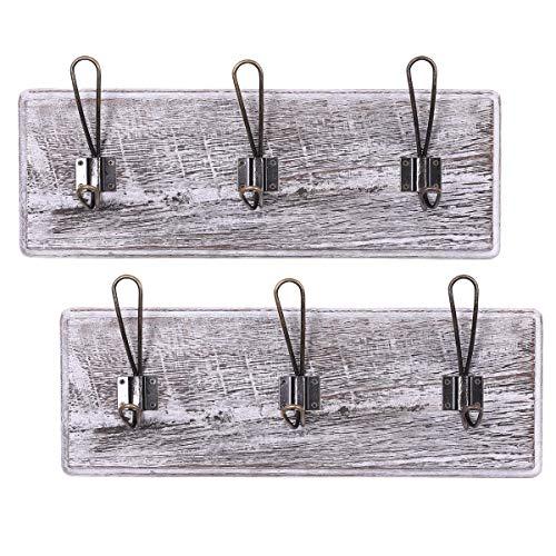 Rustikale Wandgarderobe mit 3 robusten Haken - 2er Set - Klassischer Holz-Garderobenständer für den Eingangsbereich - Rustikaler Garderobenständer für Mäntel, etc. -88.9cm x 15.59cm - Antikweiß