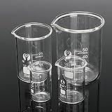 MYAMIA 4Pcs Absolvierte Borosilikatglas-Becher 5Ml 10Ml 25Ml 50Ml-Set Volumetrische Labor Glaswaren