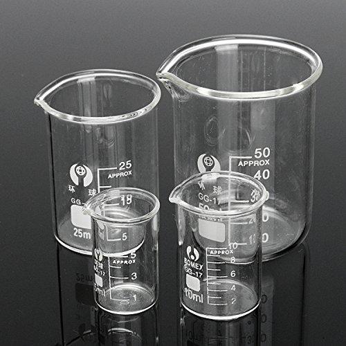 MYAMIA 4Pcs Graduó El Vaso De Vidrio Borosilicato 5Ml 10Ml 25Ml 50Ml Fijó La Cristalería Volumétrica del Laboratorio