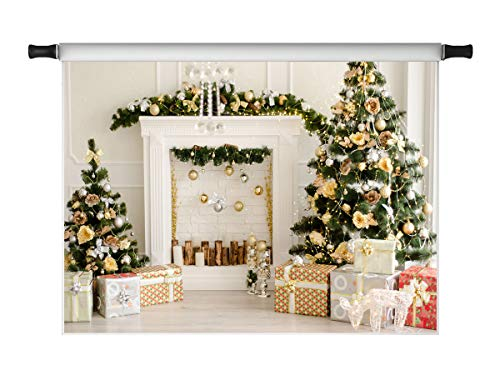 Kate 10x10ft Christmas Backdrops for Photography Golden Christmas Tree Gift Box Fireplace Microfiber Xmas Photo Background