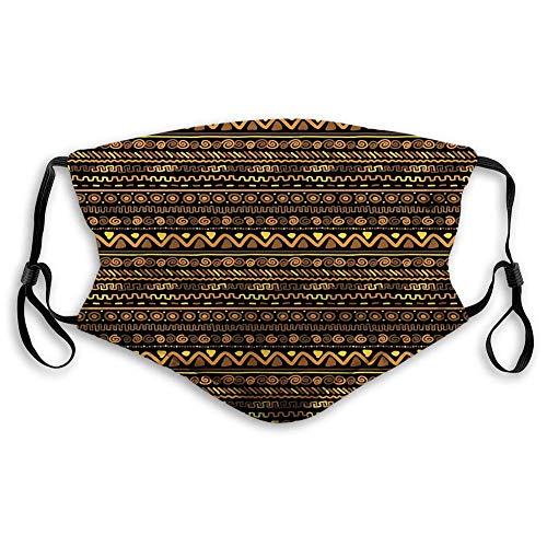 TABUE Gesichtsschutz Mundschutz Afrikaner, Chevron Zickzack Kreise und Spiralen Zeitloses Vintage Kunst Design Oriental Doodle, Braun Gelb