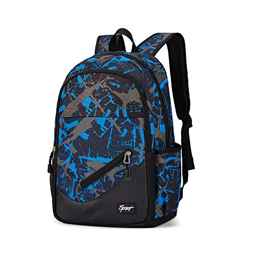 Students Backpacks for Boys Girls - Multiple Pockets Daypack Backpack Bookbag with Laptop Compartment for Middle High School Students Women Men Teens Teenagers Boys Girls - Blue Black 30L