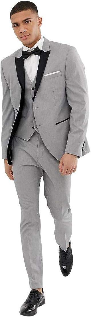 Men's Gray Slim fit Wedding Tuxedo Wear Best Man Wedding Dress Suit