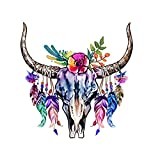 CEO Girls Club Bull Skull and Horns with Feathers Wall Decor Decal Indigo 21'x22'