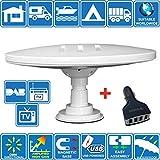 Helio-Magnet Antena de TV HD Digital Omnidireccional con 33dB Incorporado en Amplificador para DVB-T2 TDT FM Dab. 12V / 24V / 5V USB. Ideal para Autocaravanas Camiones Caravanas Barcos por Unispectra