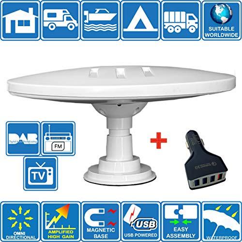 HELIO-MAGNET ANTENA de TV HD Digital Omnidireccional con 33dB Incorporado en Amplificador para DVB-T2 TDT FM DAB. 12V / 24V / 5V USB. Ideal para Autocaravanas Camiones Caravanas Barcos por Unispectra®