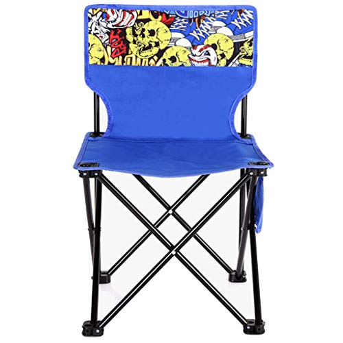 GWM Folding Camping Chairs, Outdoor Chairs with Side Pocket, Stable Structure, Max. Capacity 120 kg (Size : Medium size)