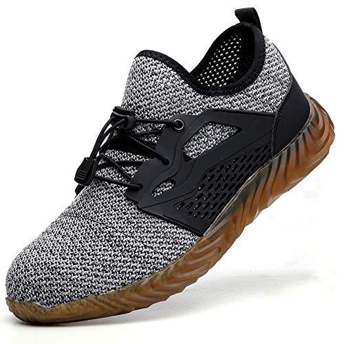 SUADEEX Sicherheitsschuhe Herren Atmungsaktiv S3 Arbeitsschuhe Damen Leicht Stahlkappe Sportlich Schuhe Sommer,02 Grau,42 EU