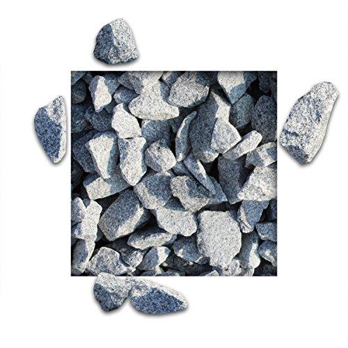 25 kg Granitsplitt Hellgrau Gartensplitt Ziersplitt Deko Granit Dekoration Splitt Körnung 32/56 mm