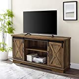 Walker Edison Richmond Modern Farmhouse Sliding Barn Door TV Stand for TVs up to 65 Inches, 58 Inch, Reclaimed Barnwood