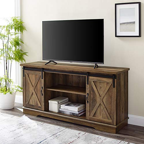 """Walker Edison Furniture Company Modern Farmhouse Sliding Barndoor Wood Stand for TV's up to 65"""" Flat Screen Cabinet Door Living Room Storage Entertainment Center, 28 Inches Tall, Reclaimed Barnwood"""