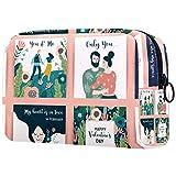 Romantic of Love Story- Bolsa de maquillaje portátil impresa, bolsa de cosméticos para mujer, bolsa de cosméticos de viaje